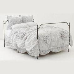 100 Egyptian Cotton White Flower Ruffled Duvet Set 2 Pillow Cases All Sizes | eBay