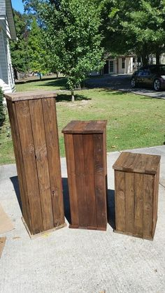 RECYCLED WOOD PALLETS: These are solid wood pedestals used to hold large floral arrangements. We are selling them to you to use for the same purpose or for outside by your front door to hold holiday decorations or everyday decorations. They are made from pallet wood that is made to withstand the weather. These are 4',3', and 2' and they sell for $80, $60, and $40. We can paint and stain them to look like the trays we do. Message us with questions, ideas or orders.Item # 422