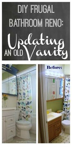 How to makeover an old bathroom vanity with an in-stock sink and some paint. An easy high-impact update on a tight budget: new sink and painted vanity for a fresh new look. #diy #bathroomideas #painting