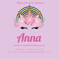 Free online birthday invitations for a ballerina princess birthday send free unicorn birthday party invites for your daughters birthday online with envytations filmwisefo