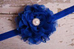 Royal Blue Chiffon Lace Flower Rhinestone Headband - Baby Girl Toddler Woman Vintage Rhinestone Headband, Diy Headband, Cute Headbands, Baby Girl Headbands, Pearl Flower, Lace Flowers, Toddler Girl, Royal Blue, Vintage Ladies