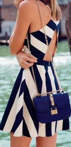 Cute! Love the Stripes! Love the Cut Out Crossover Open Back Design! Stripes Cut Out Cross Back Dress #Fun #Flirty #Navy #White #Stripes #Crossover #Open_Back #Spring #Summer #Dresses #Fashion #Blue #Gold #Bags #Accessories