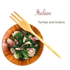 Substantial, but light. Turnips and greens with pancetta for an Italian-style side dish.