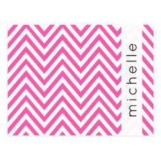 Your Name - Zigzag Chevron Pattern - Pink White Postcard - postcard post card postcards unique diy cyo customize personalize