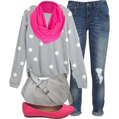 """""""Polka Dot Sweater"""" by jafashions on Polyvore"""