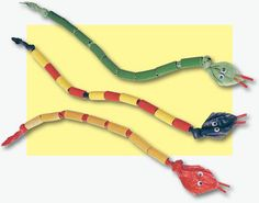 Wiggly Noodle Snakes are made with items from around the house that you probably already have!