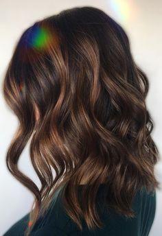 Bayalage Dark Hair, Carmel Brown Hair, Dark Caramel Hair, Dark Brown Hair With Caramel Highlights, Brown Wavy Hair, Dark Brunette Hair, Brown Hair Shades, Hair Color Caramel, Caramel Balayage