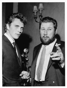 "Terence Stamp, Peter Ustinov. Ustinov directed, and co-starred with Stamp in ""Billy Budd"". I assume this was about the time of the film's release in 1962. The film is a minor classic btw. These two and a chilling Robert Ryan are all brilliant in it."