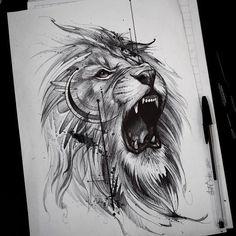 Roaring like a lion! Roaring like a lion! Leo Tattoos, Future Tattoos, Animal Tattoos, Body Art Tattoos, Sleeve Tattoos, Tattoos For Guys, Horse Tattoos, Celtic Tattoos, Lion Tattoo Design