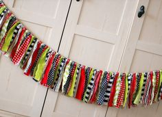 Shabby Rag Garland - Red, Lime Green, Navy Blue - Shabby Torn Fabric Rag Garland Banner Bunting, Nursery Decor, Photo Prop