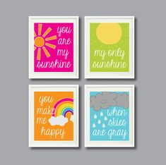 You Are My SunshineSet of Four Prints for by GatheredNestDesigns  Several designs to choose from