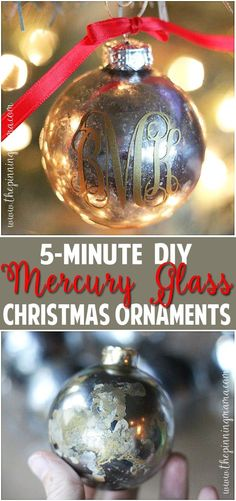 The BEST step by step tutorial on how to get a mercury glass finish. The way she shows is so easy snd really does only take about 5 minutes! Such an easy christmas craft project! Christmas Craft Show, Easy Christmas Crafts, Christmas Tree Ornaments, Christmas Craft Projects, Christmas Mosaics, Christmas Holidays, Christmas Decorations, Christmas Foods, Felt Decorations