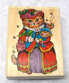 Penny Black 182 H Mrs Tabitha Tabbycat rubber stamp cat stamps wood mounted 90s  #PennyBlack #CatsChristmas