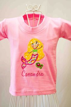 Little Mermaid Applique Girls Tshirt - Available in All Sizes - From Babies to Adult. $16.00, via Etsy.