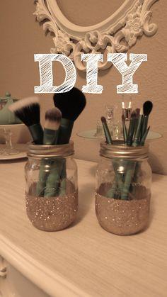 DIY Glitter Mason Jar Brush Holder