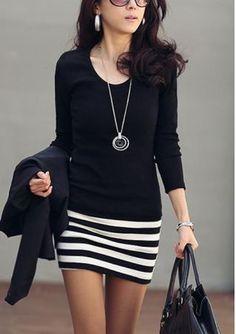 Women's round neck long sleeve stripe printing splice hip-hugger slim fit bodycon dresses