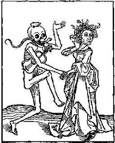 Death and the lady. From Der Doten Dantz (Dance of the Dead), printed by Heinrich Knoblochzer, Heidelberg, 1490.