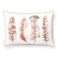 """Embroidered Feather Oblong Decorative Pillow ( 20""""x14"""") Cream - Threshold™ : Target"""