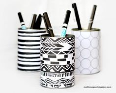 I need a new pen holder for work Make+Tin+Can+Desk+Organizers