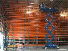 Pallet rack installation for warehouse storage applications.
