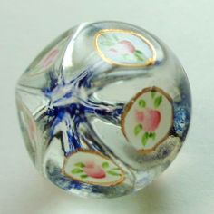 Antique / Vintage CLEAR GLASS Radiant Button w ENAMEL PAINTED ROSEBUDS