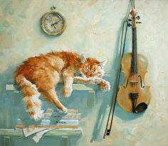 Cute Musicians: Maria Pavlova Cat Paintings -
