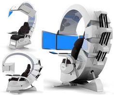 Ultimate Computer Station. Complete work assignments, play #video games, or just browse the web like never before with the ultimate computer station that features everything from #touchscreen controls to air filtering systems. This hand built chair will make you the envy of cubicle dwellers everywhere.  Buy It $44,750.00.