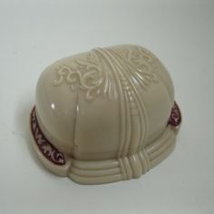 Vintage 1930s Wedding Ring Box Clam Shell Art Nouveau Revival Cream 1940s. $58.00, via Etsy.