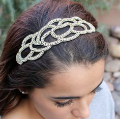 "Amazon.com: Pink Pewter ""Chloe"" Silver Headband with Open Rhinestone Design  #pinkpewter"