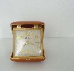 ✯ Vintage Working Linden Travel Alarm Clock with Faux Leather Burnt Orange Case :: By Fifiduvie ✯