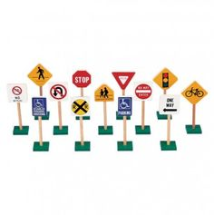Our 7 Inch Traffic Signs by Guidecraft teach kids sign recognition and traffic safety at an early age through fun block play. This set of Guidecraft 7 inch traffic signs is made of wood, has non-tip bases and includes 13 signs. Preschool Supplies, Block Play, Kids Blocks, Fun Arts And Crafts, Developmental Toys, Dramatic Play, Toy Store, Painted Signs, Toddler Toys