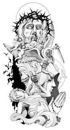 Tattoo, tattoo sleeve designs, angel tattoo designs, biblical tattoos, re. 3 4 Sleeve Tattoo, Full Sleeve Tattoo Design, Forearm Sleeve, Tattoo Forearm, Tattoo Design Drawings, Tattoo Sketches, Jesus Tattoo Design, Angel Tattoo Designs, Trendy Tattoos