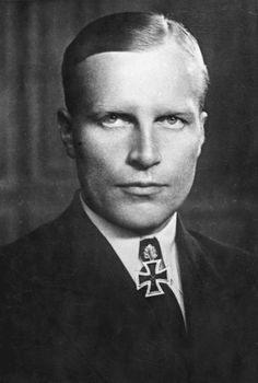 ✠ Kapitänleutnant Werner Henke, commander of U-515. When his U-boat was hit in 1944, he and 40 of his men were captured by US naval forces. In order to make them talk, US interrogators threatened them with war-crime charges. After feigning compliance, Henke only gave name and rank, refusing to divulge any information. They killed him on 15 June 1944, during an unlikely daylight 'escape attempt'. Knight's Cross of the Iron Cross with Oak Leaves.