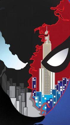 Spider Man vs Venom Art iPhone Wallpaper - My best wallpaper list Marvel Venom, Marvel Art, Marvel Dc Comics, Marvel Heroes, Marvel Characters, Amazing Spiderman, Spiderman Pictures, Spiderman Spider, Black Spiderman