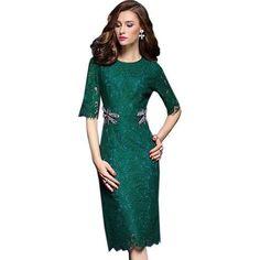 b980b36b0345ac Elegant Embroidery Half Sleeve Lace Dress