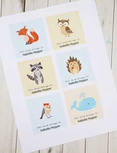 Free printable personalized bookplates for kids that you can customize. Too cute! | Alpha Mom