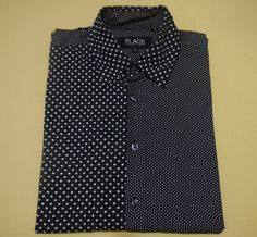 COMME des GARCONS Black POLKA DOT 100% cotton LONG SLEEVE shirt #CommedesGarons #ButtonFront