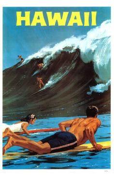 A vintage Hawaii travel poster showing surfers with a large wave. A vintage Hawaii travel poster showing surfers with a large wave. Vintage Surfing, Surf Vintage, Diy Vintage, Photo Vintage, Vintage Ads, Wedding Vintage, Vintage Mermaid, Vintage Metal, Vintage Designs