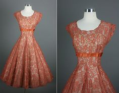 Love this 50's dress...color & lace.