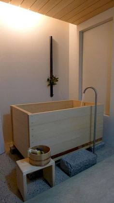 ofuro: japanese ofuro bathtub in hinoki wood handmade in Japan by bartokdesign Co. Enjoy soaking in this aromatic hot tub spa as if you were in a japanese onsen! Rustic Bathroom Vanities, Bathroom Furniture, Small Bathroom, Master Bathroom, Bathroom Tubs, Bathroom Plants, Bathroom Ideas, Bathroom Renovations, Shiplap Bathroom