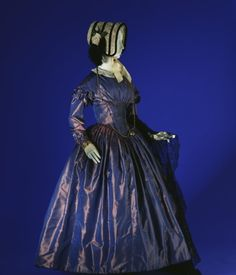Day dress, c.1845, in blue and purple changeable striped silk taffeta, British.