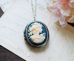 Cameo Locket Necklace. Antiqued Silver Oval Locket with by LeChaim