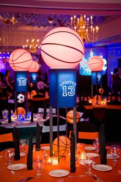 Wonderful Basketball Themed Bar Mitzvah Table Centerpieces   The Celebration Society (Basketball  Decorations)