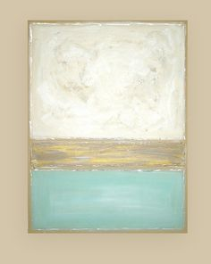 "Shabby Chic Modern Acrylic Abstract Painting on Canvas Titled: Spa 2 30x40x1.5"" by Ora Birenbaum"
