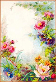 1880s Floral Frame / Background ~ Vintage Field & Garden
