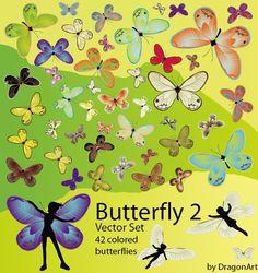 42 butterflies vector material