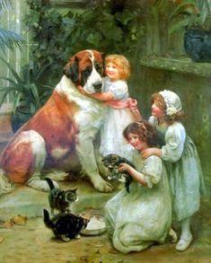 les Anglais du XIXe siècle adoraient les peintures animalières : les 16 reproductions de tableaux d'Arthur John Elsley sont des peintures d'enfants, mais sur tous figurent aussi chiens, chats, chevaux... ou même moutons et canards !... de bien jolies images pour orner cartes et autres créations...