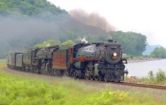 Canadian Pacific Hudson 2816 & Milwaukee Road 261 along Mississippi River, Minnesota