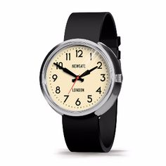 Newgate  Grand Electric Watch: The deep flare backed vintage electric watch case comes in two sizes, the electric and the electric grand. They have smart knurled crowns and propeller hands with an arrow counterbalance. Soft black silicone straps in gloss black.