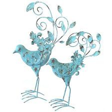 Bird Sculpture Garden Bird Statue Peacock Iron Metal Ornament *49cm* PAIR 1041
